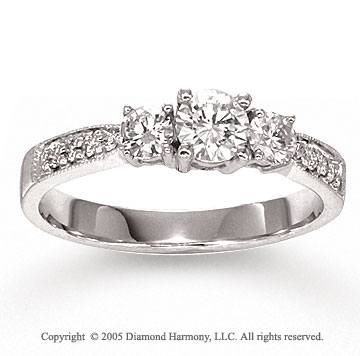 14k White Gold Prong 0.80 Carat Three Stone Diamond Ring