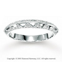 14k White Gold Stylish Pave 1/6 Carat Diamond Anniversary Band