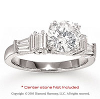 14k White Gold Side Stone 0.65 Carat Diamond Engagement Ring