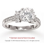 14k White Gold Side Stone 1/2 Carat Diamond Engagement Ring