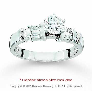 14k White Gold Side Stone Channel Diamond Engagement Ring