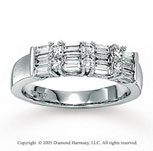 14k White Gold Round Baguette Diamond Anniversary Band