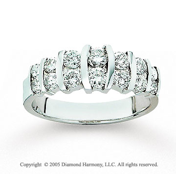 14k White Gold Round 1.00 Carat Diamond Anniversary Band