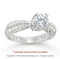 14k White Gold Side Stone 0.40 Carat Diamond Engagement Ring