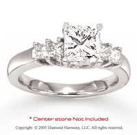 14k White Gold Side Stone 0.35 Carat Diamond Engagement Ring