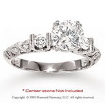 14k White Gold Side Stone Round Diamond Engagement Ring