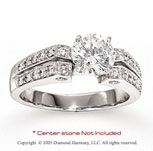 14k White Gold Side Stone 0.32 Carat Diamond Engagement Ring