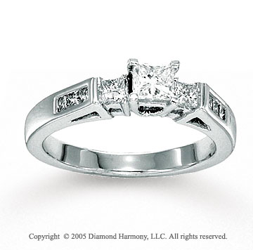 14k White Gold 0.80 Carat Three Stone Channel Diamond Ring