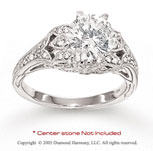 14k White Gold Side Stone 0.30 Carat Diamond Engagement Ring