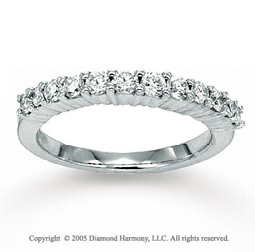 14k White Gold Prong 1/2 Carat Diamond Anniversary Band