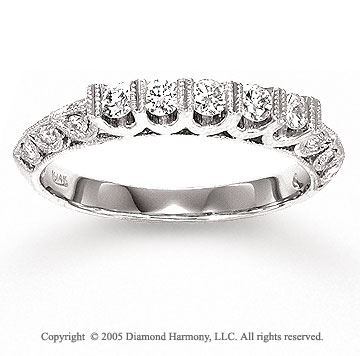 14k White Gold Round 1/2 Carat Diamond Anniversary Band