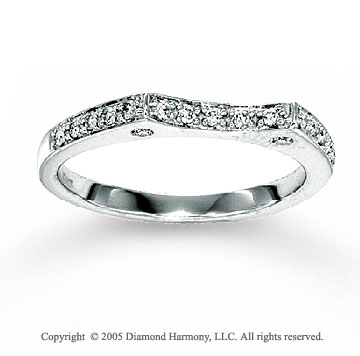 14k White Gold Round 0.20 Carat Diamond Wedding Ring