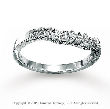 14k White Gold Round 1/6 Carat Diamond Wedding Ring