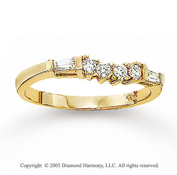 14k Yellow Gold Round Baguette Diamond Wedding Ring