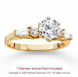 14k Yellow Gold Side Stone 1/5 Carat Diamond Engagement Ring