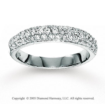 14k White Gold Pave 2/3 Carat Diamond Anniversary Band