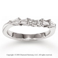 14k White Gold Round Baguette Diamond Wedding Ring