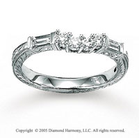 14k White Gold Baguette 1/4 Carat Diamond Wedding Ring