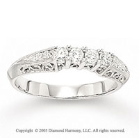 14k White Gold Pave Prong 1/3 Carat Diamond Anniversary Band