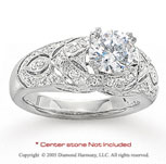 14k White Gold Side Stone 0.45 Carat Diamond Engagement Ring