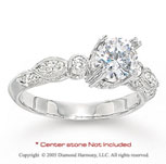 14k White Gold Side Stone 1/4 Carat Diamond Engagement Ring