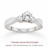14k White Gold Side Stone 0.20 Carat Diamond Engagement Ring
