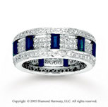 14k White Gold Blue Sapphire 0.90 Carat Diamond Stackable Ring