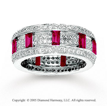 14k White Gold Ruby Pave 0.90 Carat Diamond Stackable Ring
