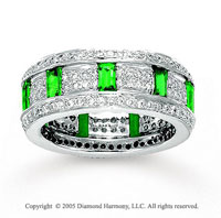 14k White Gold Emerald Pave 0.90 Carat Diamond Stackable Ring