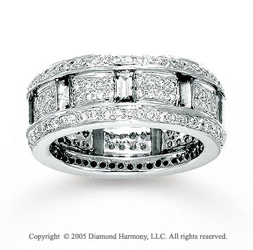 14k White Gold Round Baguette 4/5 Carat Diamond Stackable Ring