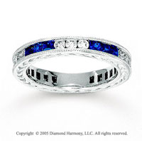 14k White Gold Blue Sapphire 1/2 Carat Diamond Stackable Ring