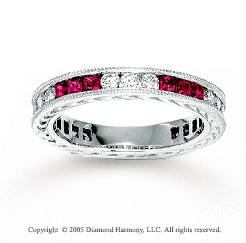 14k White Gold Ruby 1/2 Carat Diamond Stackable Ring