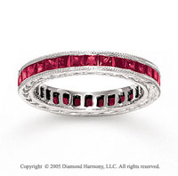 14k White Gold Channel Princess Ruby Stackable Ring