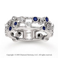 14k White Gold Unique Diamond Blue Sapphire Fashion Ring