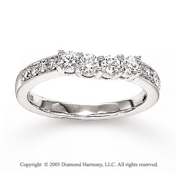 14k White Gold Prong 1/2 Carat Diamond Wedding Ring