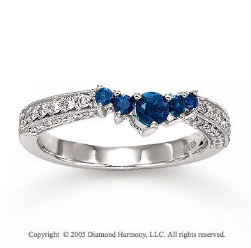 14k White Gold Blue Sapphire Prong Diamond Wedding Ring