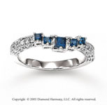 14k White Gold Blue Sapphire 1/4 Carat Diamond Wedding Ring