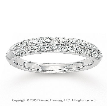 14k White Gold Pave 1/4 Carat Diamond Anniversary Band