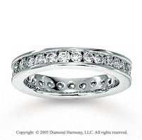 14k White Gold Round Channel 1 1/4 Carat Diamond Eternity Ring