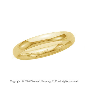 14k Yellow Gold 3mm Plain Domed Comfort Fit Wedding Band