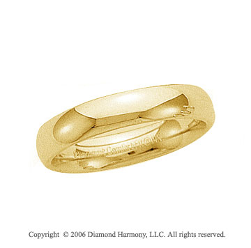 14k Yellow Gold 4mm Plain Domed Comfort Fit Wedding Band