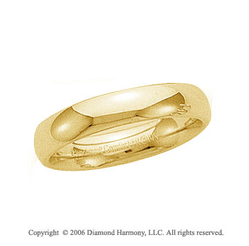 14k Yellow Gold 5mm Plain Domed Comfort Fit Wedding Band