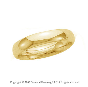 14k Yellow Gold 6mm Plain Domed Comfort Fit Wedding Band