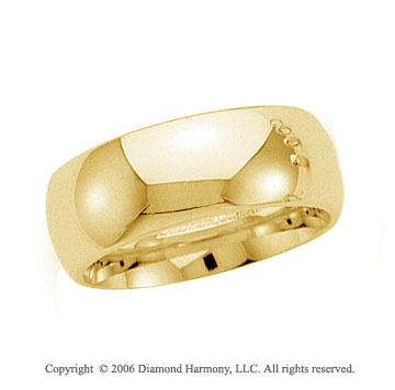 18k Yellow Gold 8mm Plain Domed Comfort Fit Wedding Band