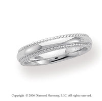 14k White Gold 4mm Domed Comfort-F Rope Wedding Band