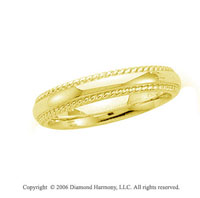 14k Yellow Gold 4mm Domed Comfort-F Rope Edge Wedding Band