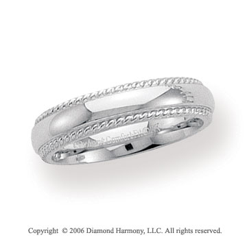 14k White Gold 5mm Domed Comfort-F Rope Wedding Band