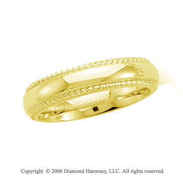 14k Yellow Gold 5mm Domed C-Fit Rope Wedding Band