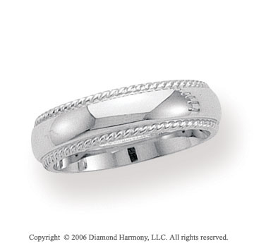 14k White Gold 6mm Domed Comfort-F Rope Wedding Band