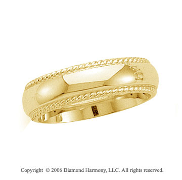 14k Yellow Gold 6mm Domed C-Fit Rope Wedding Band